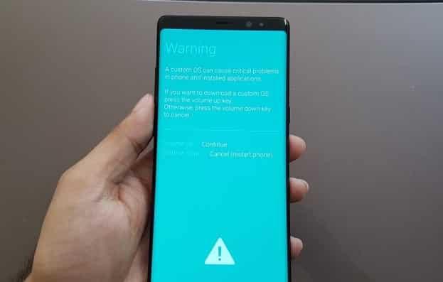 cach bat Download Mode Galaxy S9 warning 1