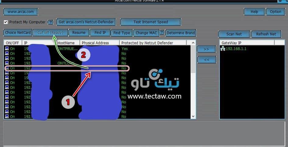 التحكم بالاجهزة المتصلة بالراوتر برنامج Netcut