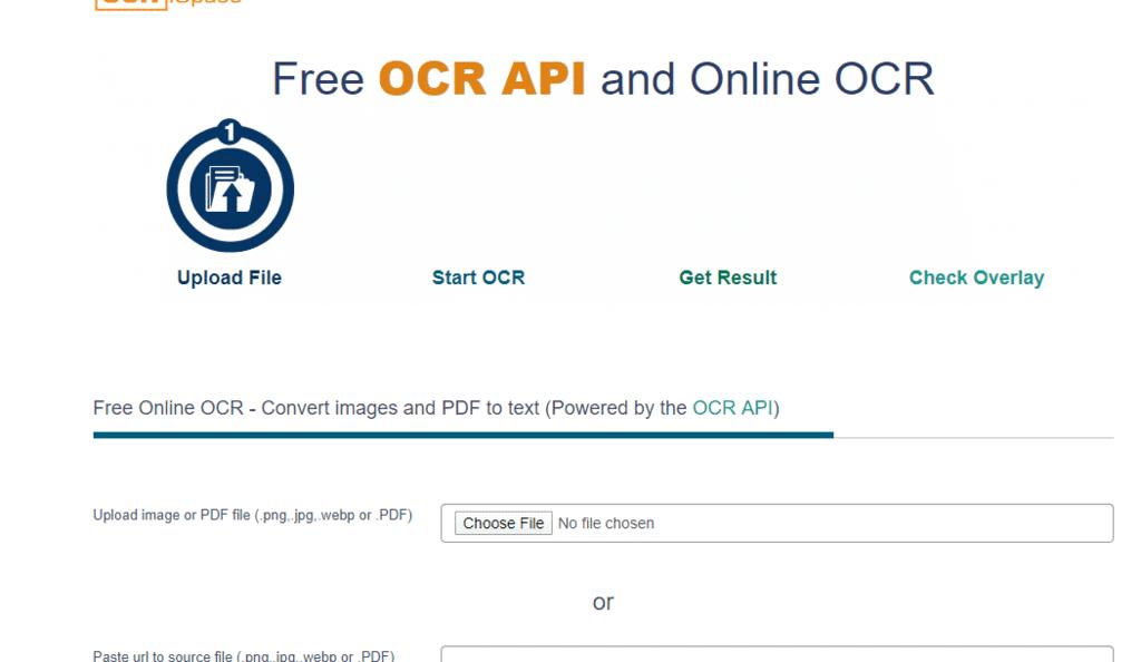 موقع OCR SPACE لاستخراج النص